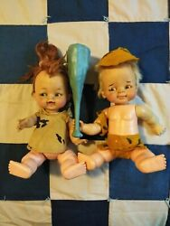 Pebbles And Bam Bam Dolls 1960's Hanna Barbera Ideal Toy Corp--collectibles