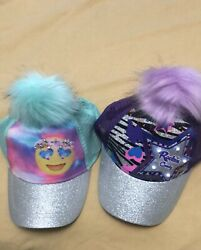 2 Tots Pom Pom Light Up Caps Stars And Emoji For Girls Age 4 To 7 $8.00