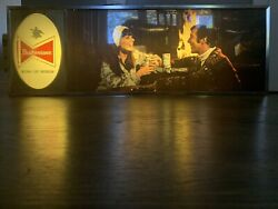 Very Rare Mid 1960and039s Vintage Budweiser Lighted Sign 3 Feet Long Campfire Scene