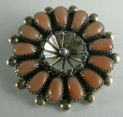Native American Indian Turquoise Coral Cluster Sterling Pin Brooch Pendant