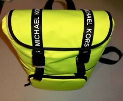 Michael Kors quot; The Michael Bag quot; Large Flap Neon Yellow Backpack Bag Purse NWT $249.99