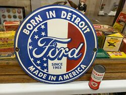 Ford Made In America Heavy Porcelain Sign 12 Inch Round Great Looking Sign