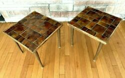 Pair Georges Briard Mid Century Mosaic Art Tile Top Side End Tables Brown Wooden