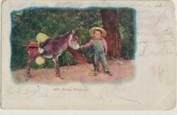 Vintage Postcard Young Prospector 168 Little Boy With Burro 1906 Writing Front