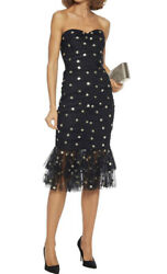 Marchesa Notte Strapless Ruched Polka Dot Sequin Tulle Dress Black/gold Size 16