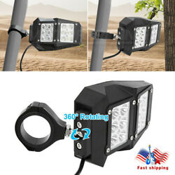 Fit 1.5-2 Roll Cage Utv Rear View Side Mirrors W/ Led Light For Polaris Rzr Us