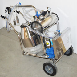 Vacuum Pump Milking Machine For Cow Goat 110v Stainless Steel Bucket 110v New Us