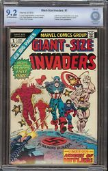Giant Size Invaders 1 Cbcs 9.2 Ow/w Marvel 1975 Origin Of Captain America