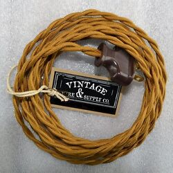 Antique Bronze - Cloth Covered Rewire Lamp Cord - Wire And Plug - Vintage Light -