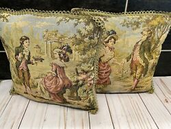 2 Vtg Tapestry Italy ? Courting Couple Lady Gentleman Pillows Shabby Victorian