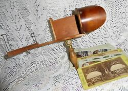 1880's Maple And Golden Mahogany Stereoscope Nice Condition With Stereoviews Lot