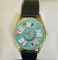 Whimsical Casino Poker Table Unisex Black Strap Watch Card Animation, Last Ones