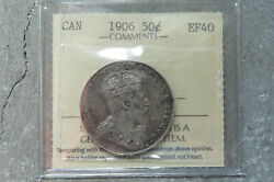 1906 Canada Silver Fifty 50 Cents Iccs Ef-40