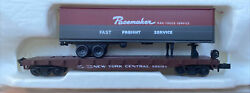 N Scale Con Cor 50' Flat Car W/trailer New York Central Nyc Tofc Piggyback