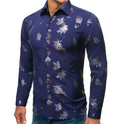 Shirt Casual Dress Shirts Formal Top Long Sleeve Slim Fit Mens Business Luxury