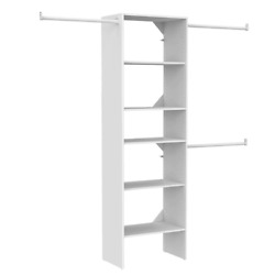 84 In. - 120 In. White Wood Custom Closet System Organizer With Three Hang Rods