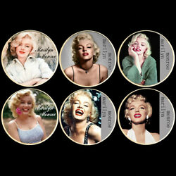6pcs Us Gold Coins Marilyn Monroe Metal Coin With Plastic Shell Collection
