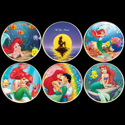 6pcs Disney Gold Coins The Little Mermaid Metal Coin Plastic Shell Collection