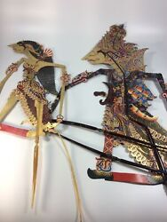 """Lot Of 2 Antique Wayang Kulit Shadow Puppet Horn Handle Indonesia 20"""" And 13"""""""