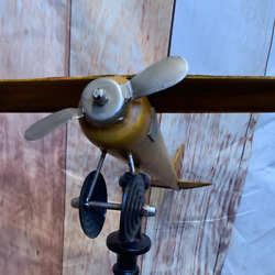 Vintage Style Propeller Airplane Model On Wood Stand