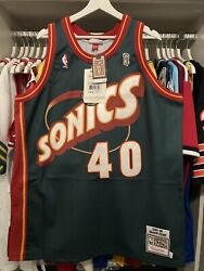 """Authentic Mitchell And Ness Shawn Kemp Sonics 95-96"""" Finals Jersey Sz.48 Bnwt"""