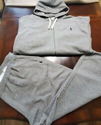 Polo 2pc Sweat Suit Gray And Black 4xb Pants 4xlt Jacket Pre-owned