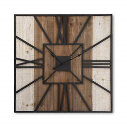 Putuo Decor 23 Farmhouse Metal And Solid Wood Wall Clock, Primitive Country Home