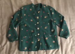Geiger Wool Jacket 36 Green Floral Embroidered Button Up W Pockets