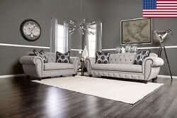 Gray Fabric Deep Tufted Back Rolled Arms W/ Pillows Sofa Loveseat 2 Pc Usa Made