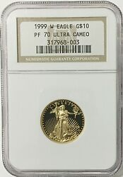 1999-w 10 Gold Eagle Coin - Ngc Pf 70 Ultra Cameo