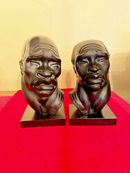 Vintage African Art Sculptures By Fred Press. Male And Female African Busts