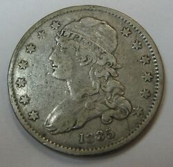 Attractive Circulated 1835 Capped Bust Silver Quarter Grading Xf  G34