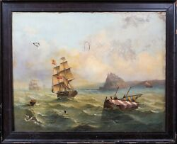 Large 19th Century Ships Sailing Off The Isle Of Ischia Italy Gulf Of Naples