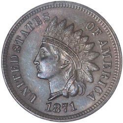 1871 Indian Head Cent Brown Uncirculated + Penny Us Coin See Pics