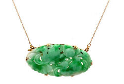 Vintage Hand Carved Jade Necklace Antique Georgian Pendant 14k Yellow Gold