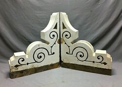 Large Pair Antique Corbels Roof Brackets Victorian Shabby White Vtg Chic 795-21b
