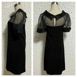 The Real Thing Tagged See-through Switching Short Sleeve Dress Black