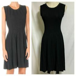 The Real Thing Neck Studs Pleat Sleeveless Dress Xs Black Letter Pack