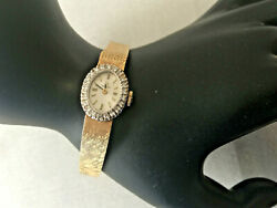 Vintage 14k Yellow Gold And Diamonds Oval Omega Ladies Watch