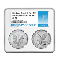 2021 1 Type 1 And Type 2 Silver Eagle Set Ngc Ms70 Fdi First Label