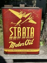Vintage Strata Motor Oil 2 Gallon Can Airplane Graphics Tiona Petroleum Co