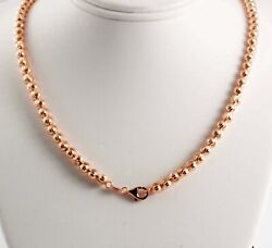 36 Gram 14k Gold Rose Menand039s Womenand039s Bead Moon Cut Chain Necklace 30 5mm