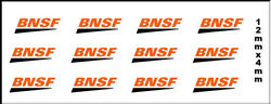 12 BNSF RAILWAY PEEL AND STICK DECALS 12MM X 4MM