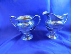 Wallace 4640-9 Rose Point Sterling Silver Sugar Creamer Set - Nearly New Cond D