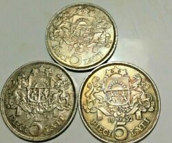 Latvia 1929 1930 And 1931 5 Lati Lot Of 3 Silver Coins