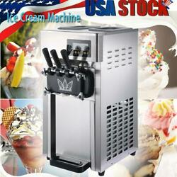 Commercial Soft Ice Cream Machine 3 Flavors For Restaurants Snack Shop 1200w Usa