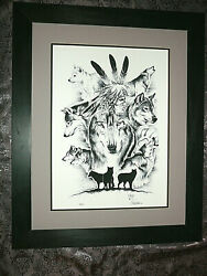 Superb Black And White Ink Lithograph By Canadian Native Artist Signed And Numbered