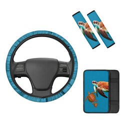 Sea Turtle Car 4pcs Steering Wheel Center Console Armrest Cover Seat Belt Covers