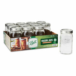 Ball Glass Mason Jars With Lids And Bands Wide Mouth 32 Oz 12 Count