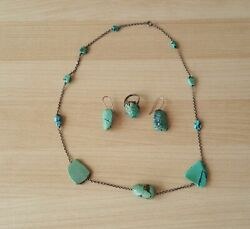 Ladies Vintage Silver And Turquoise Jewellery Set Necklace Earrings Ring